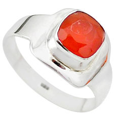 e natural honey onyx cushion 925 silver ring size 8.5 t23318