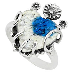 8.06cts solitaire natural k2 blue (azurite in quartz) silver ring size 8 t6431