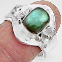 3.10cts solitaire natural labradorite 925 silver adjustable ring size 7.5 r49579