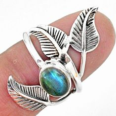 2.13cts solitaire natural labradorite 925 silver leaf charm ring size 5.5 t6375