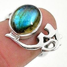 4.75cts solitaire natural labradorite 925 silver om symbol ring size 6 t6360