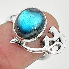 5.06cts solitaire natural labradorite 925 silver om symbol ring size 7 t6359