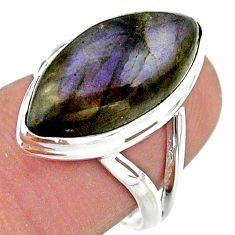 13.55cts solitaire natural labradorite spectrolite 925 silver ring size 7 t41721