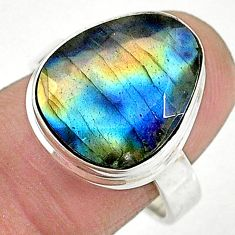 11.89cts solitaire natural labradorite spectrolite 925 silver ring size 8 t10338
