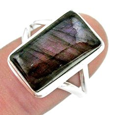 10.64cts solitaire natural labradorite spectrolite 925 silver ring size 8 t41720