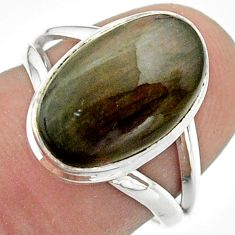 6.33cts solitaire natural labradorite spectrolite silver ring size 6.5 t41712