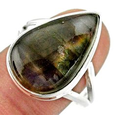 14.12cts solitaire natural labradorite spectrolite silver ring size 9.5 t41717
