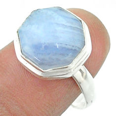 6.33cts solitaire natural lace agate 925 silver hexagon ring size 8 t55946