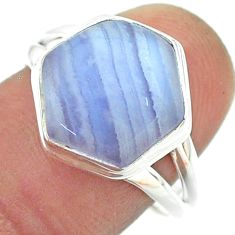 6.32cts solitaire natural lace agate 925 silver hexagon ring size 8.5 t55106