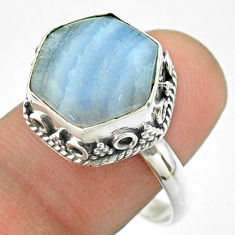 6.58cts solitaire natural lace agate 925 silver hexagon ring size 8.5 t55903