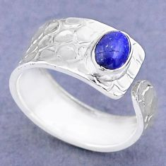 1.43cts solitaire natural lapis lazuli 925 silver adjustable ring size 8 t47309