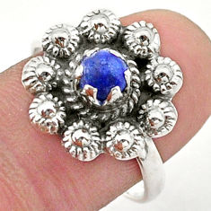 0.96cts solitaire natural lapis lazuli 925 silver flower ring size 8.5 t40696