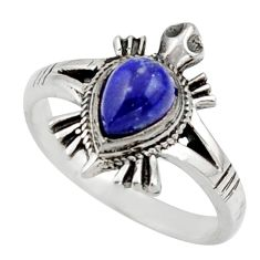 1.57cts solitaire natural lapis lazuli 925 silver tortoise ring size 7 r41927