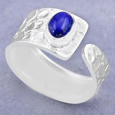 1.51cts solitaire natural lapis lazuli silver adjustable ring size 8.5 t47304