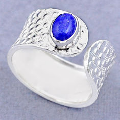 1.47cts solitaire natural lapis lazuli silver adjustable ring size 7.5 t47365