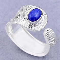 1.51cts solitaire natural lapis lazuli silver adjustable ring size 7.5 t47388