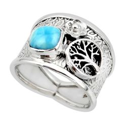 2.74cts solitaire natural larimar 925 silver tree of life ring size 8.5 r49864