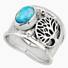 3.28cts solitaire natural larimar 925 silver tree of life ring size 7.5 r49867