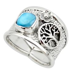 2.63cts solitaire natural larimar 925 silver tree of life ring size 7.5 r49873