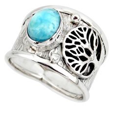 3.16cts solitaire natural larimar 925 silver tree of life ring size 7.5 r49880