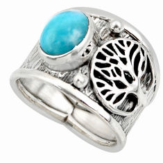 3.29cts solitaire natural larimar 925 silver tree of life ring size 7 r49866