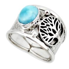 3.28cts solitaire natural larimar 925 silver tree of life ring size 8 r49879