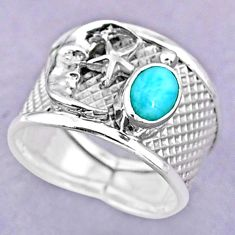 1.51cts solitaire natural larimar silver crescent moon star ring size 8 t32494