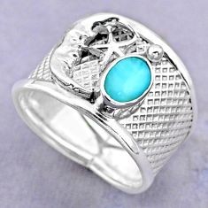 1.51cts solitaire natural larimar silver crescent moon star ring size 8.5 t32461