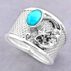 1.40cts solitaire natural larimar silver crescent moon star ring size 6.5 t32465