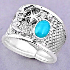 1.58cts solitaire natural larimar silver crescent moon star ring size 7.5 t32496