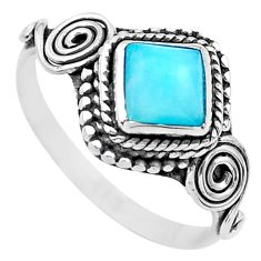 0.98cts solitaire natural larimar square 925 sterling silver ring size 8 t26206