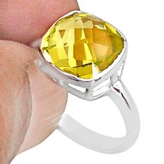 4.89cts solitaire natural lemon topaz 925 sterling silver ring size 8 t36410
