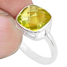 4.89cts solitaire natural lemon topaz 925 sterling silver ring size 6.5 t36361