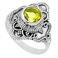 2.44cts solitaire natural lemon topaz round 925 silver ring size 8 t30768