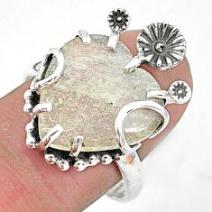 Solitaire natural libyan desert glass 925 silver flower ring size 9 t6440