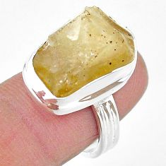 13.84cts solitaire natural libyan desert glass 925 silver ring size 7 t17774