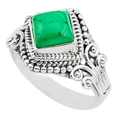 1.21cts solitaire natural malachite (pilot's stone) 925 silver ring size 5 t3611
