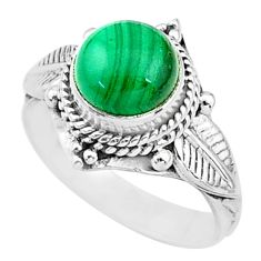2.55cts solitaire natural malachite (pilot's stone) 925 silver ring size 5 t3616