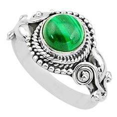 2.53cts solitaire natural malachite (pilot's stone) 925 silver ring size 6 t3614