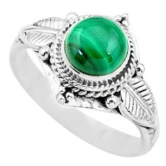 2.53cts solitaire natural malachite (pilot's stone) 925 silver ring size 8 t3609