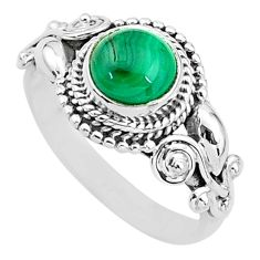 2.67cts solitaire natural malachite (pilot's stone) 925 silver ring size 8 t3610