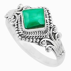 1.34cts solitaire natural malachite (pilot's stone) 925 silver ring size 9 t3619