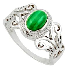 1.55cts solitaire natural malachite (pilot's stone) silver ring size 6 r40742