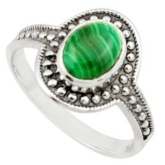1.81cts solitaire natural malachite (pilot's stone) silver ring size 7 r40581
