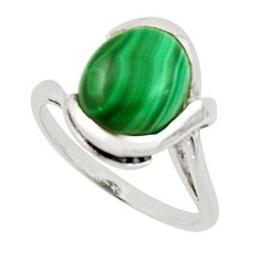 5.36cts solitaire natural malachite (pilot's stone) silver ring size 7 r40814