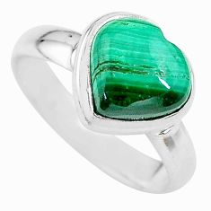 4.67cts heart natural malachite (pilot's stone) silver ring size 7 t21733