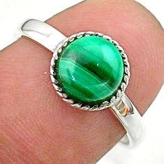 2.60cts solitaire natural malachite (pilot's stone) silver ring size 7 t41368