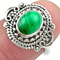 3.22cts solitaire natural malachite (pilot's stone) silver ring size 7 t46162
