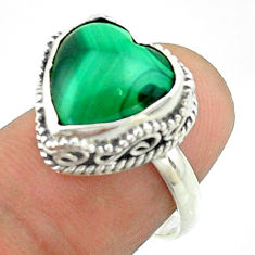 6.82cts solitaire natural malachite (pilot's stone) silver ring size 7 t55913