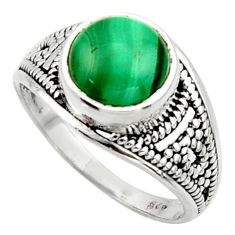 5.11cts solitaire natural malachite (pilot's stone) silver ring size 8 r40707